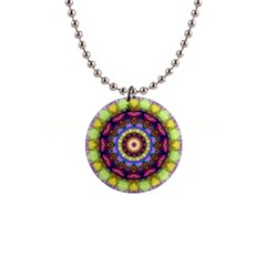 Rainbow Glass Button Necklace