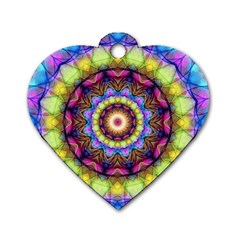 Rainbow Glass Dog Tag Heart (one Sided)  by Zandiepants