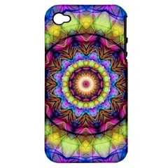 Rainbow Glass Apple Iphone 4/4s Hardshell Case (pc+silicone) by Zandiepants