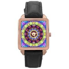 Rainbow Glass Rose Gold Leather Watch  by Zandiepants