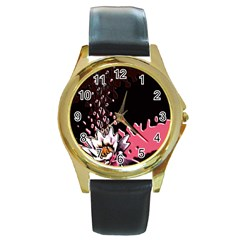 Flower Round Leather Watch (gold Rim)  by Rbrendes