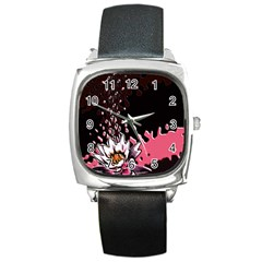 Flower Square Leather Watch by Rbrendes