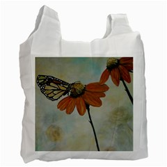 Monarch White Reusable Bag (one Side) by rokinronda