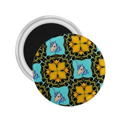 Orange Unicorn 2 25  Button Magnet by Rbrendes
