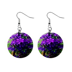 Purple Flowers Mini Button Earrings