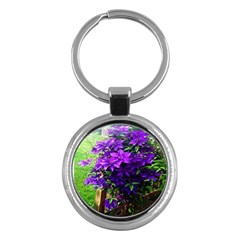 Purple Flowers Key Chain (round) by Rbrendes