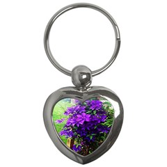Purple Flowers Key Chain (heart) by Rbrendes
