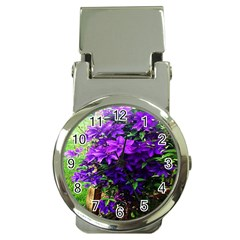 Purple Flowers Money Clip With Watch by Rbrendes