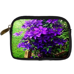 Purple Flowers Digital Camera Leather Case by Rbrendes