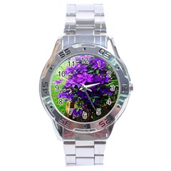 Purple Flowers Stainless Steel Watch by Rbrendes