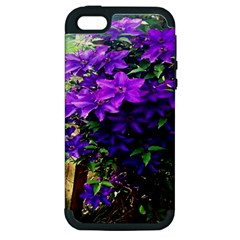 Purple Flowers Apple Iphone 5 Hardshell Case (pc+silicone) by Rbrendes