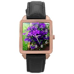 Purple Flowers Rose Gold Leather Watch  by Rbrendes