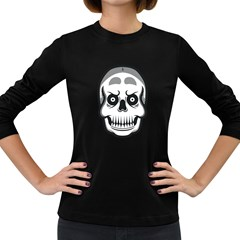 Skull Smile Women s Long Sleeve T Shirt (dark Colored) by Contest1915162