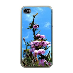 Pink Flower Apple Iphone 4 Case (clear) by Rbrendes
