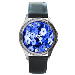 Blue Flowers Round Leather Watch (silver Rim) by Rbrendes