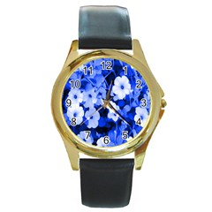 Blue Flowers Round Leather Watch (gold Rim)  by Rbrendes