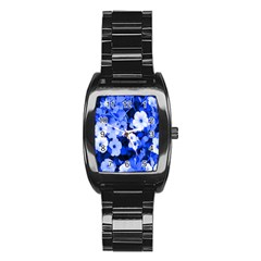 Blue Flowers Stainless Steel Barrel Watch by Rbrendes