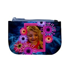 Pink Petals On Blue Smoke Girl Purse With Photo Frame By Charley Heselti   Mini Coin Purse   Gf9rwr2fogi6   Www Artscow Com Front