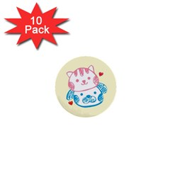 Cat Dog Luff 1  Mini Button (10 Pack) by JigglyIts