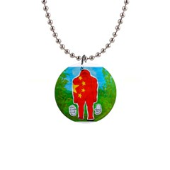 Flag Yeh Ren In Forest  Button Necklace
