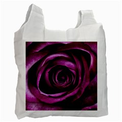 Deep Purple Rose White Reusable Bag (one Side)