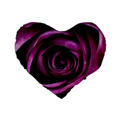 Deep Purple Rose 16  Premium Heart Shape Cushion  by Colorfulart23