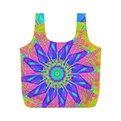 Neon Flower Purple Hot Pink Orange Full Print Recycle Bag (m) by CrypticFragmentsColors