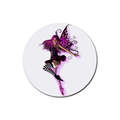 Fuschia Rubber Coaster (Round) by kittystavern