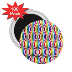 Rainbow Waves 2 25  Button Magnet (100 Pack) by Colorfulplayground