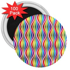 Rainbow Waves 3  Button Magnet (100 Pack) by Colorfulplayground
