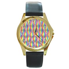 Rainbow Waves Round Leather Watch (gold Rim)  by Colorfulplayground