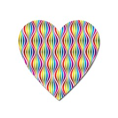 Rainbow Waves Magnet (heart) by Colorfulplayground