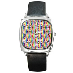 Rainbow Waves Square Leather Watch by Colorfulplayground