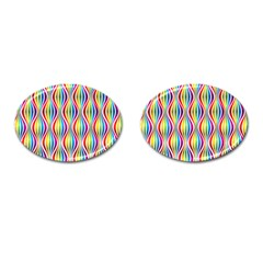 Rainbow Waves Cufflinks (oval) by Colorfulplayground