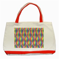 Rainbow Waves Classic Tote Bag (red) by Colorfulplayground
