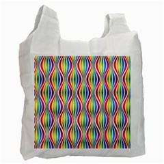 Rainbow Waves White Reusable Bag (one Side) by Colorfulplayground