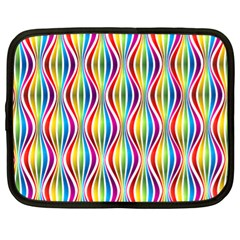 Rainbow Waves Netbook Sleeve (xl) by Colorfulplayground