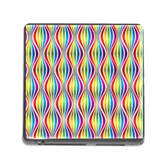 Rainbow Waves Memory Card Reader With Storage (square) by Colorfulplayground