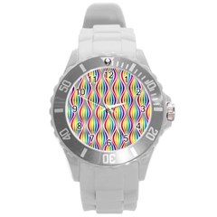 Rainbow Waves Plastic Sport Watch (large) by Colorfulplayground