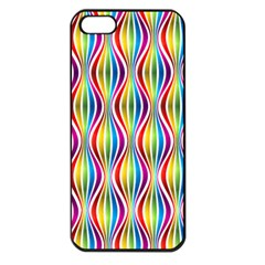 Rainbow Waves Apple Iphone 5 Seamless Case (black) by Colorfulplayground