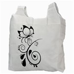 Floral Butterfly Design White Reusable Bag (Two Sides) Back