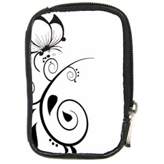 Floral Butterfly Design Compact Camera Leather Case by OneStopGiftShop