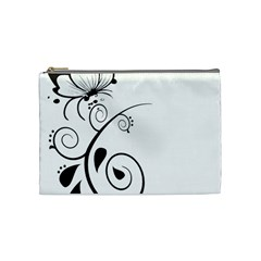 Floral Butterfly Design Cosmetic Bag (medium) by OneStopGiftShop