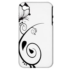 Floral Butterfly Design Apple Iphone 4/4s Hardshell Case (pc+silicone)