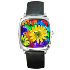 Gerbera Daisies Square Leather Watch by StuffOrSomething