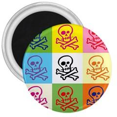 Skull 3  Button Magnet by Siebenhuehner