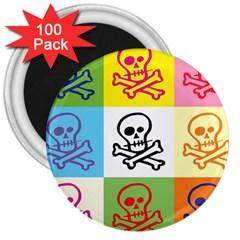 Skull 3  Button Magnet (100 Pack) by Siebenhuehner