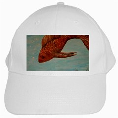 Gold Fish White Baseball Cap by rokinronda