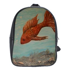 Gold Fish School Bag (xl) by rokinronda