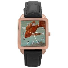 Gold Fish Rose Gold Leather Watch  by rokinronda